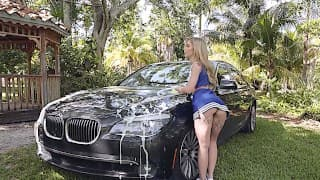 Kali Roses & Anissa Kate Working at the Car-Wash after swallow